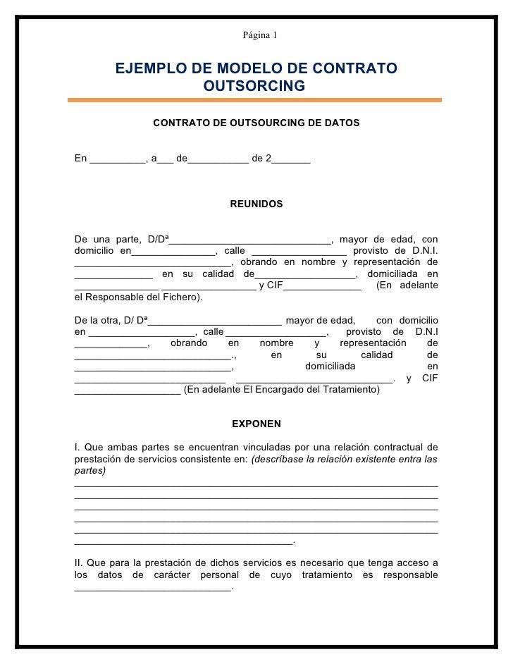 modelo contrato de outsourcing