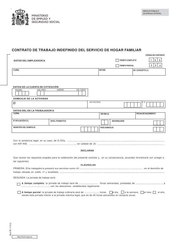 Modelo contrato empleado hogar for Modelo contrato empleada de hogar indefinido