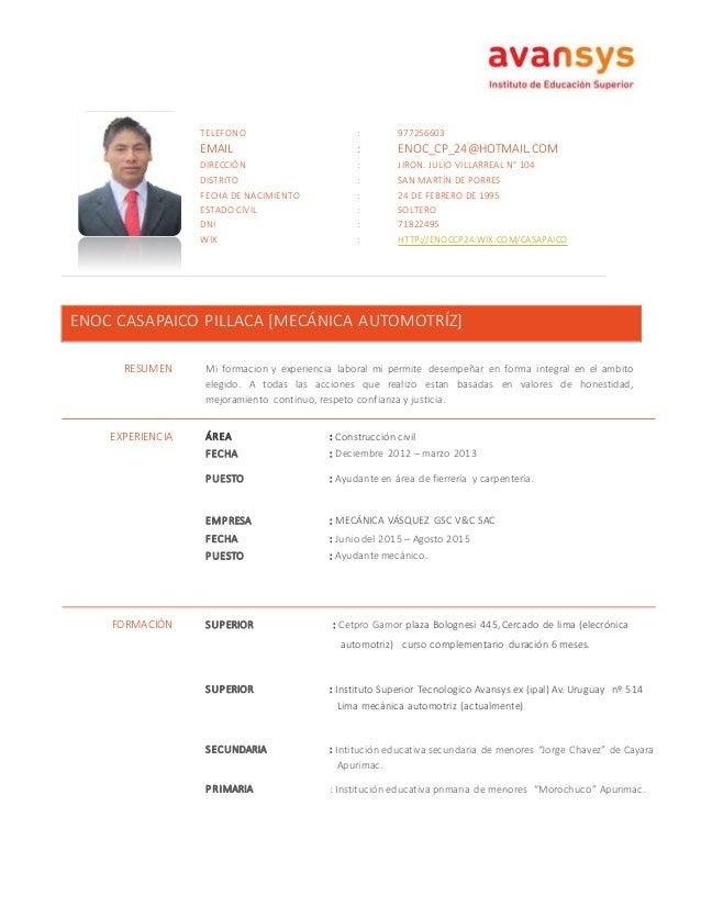 modelo de curriculum vitae 2015 peru
