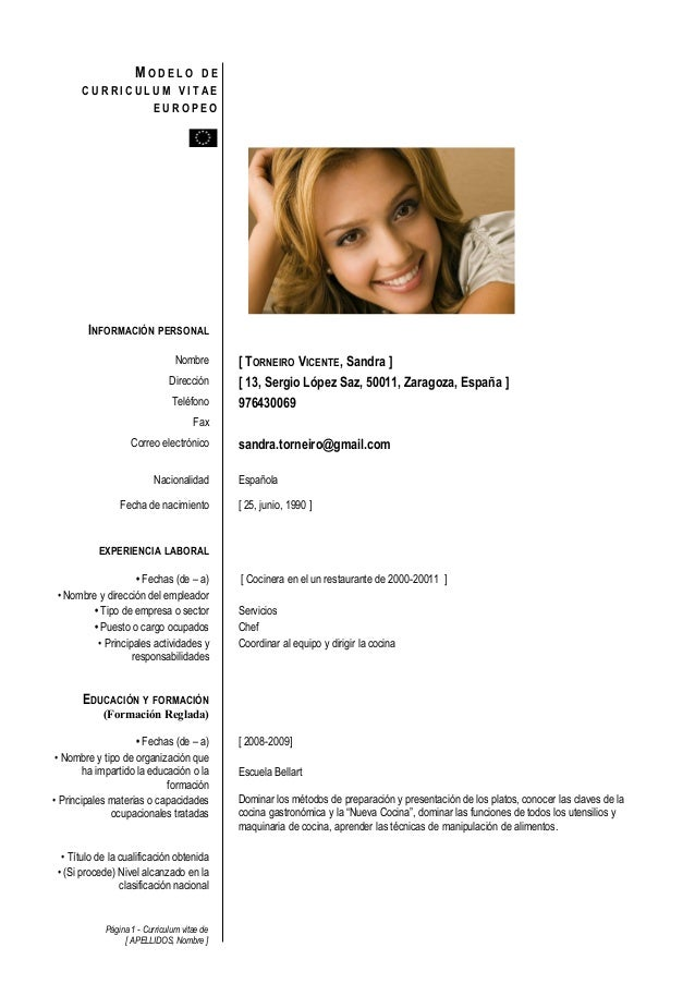 Modelo Curriculum Europeo – I Started