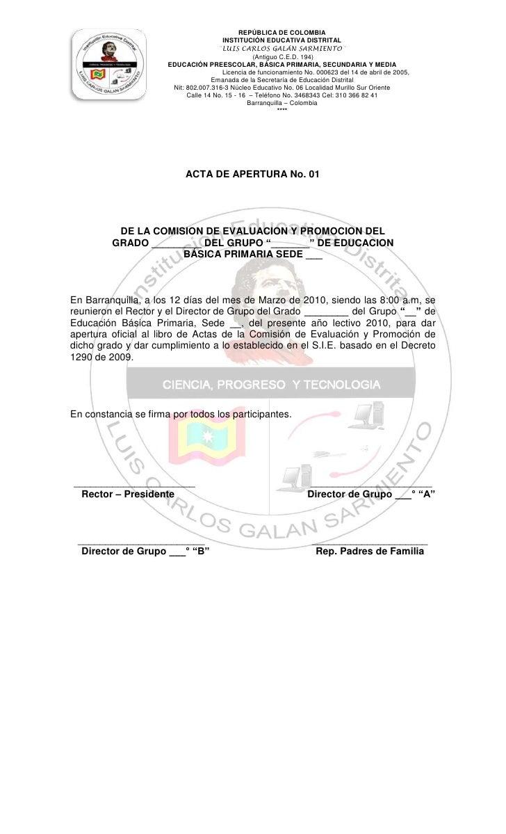 """ACTA DE APERTURA No. 01DE LA COMISION DE EVALUACION Y PROMOCION DELGRADO _________ DEL GRUPO """"_______"""" DE EDUCACION  BÁSIC..."""