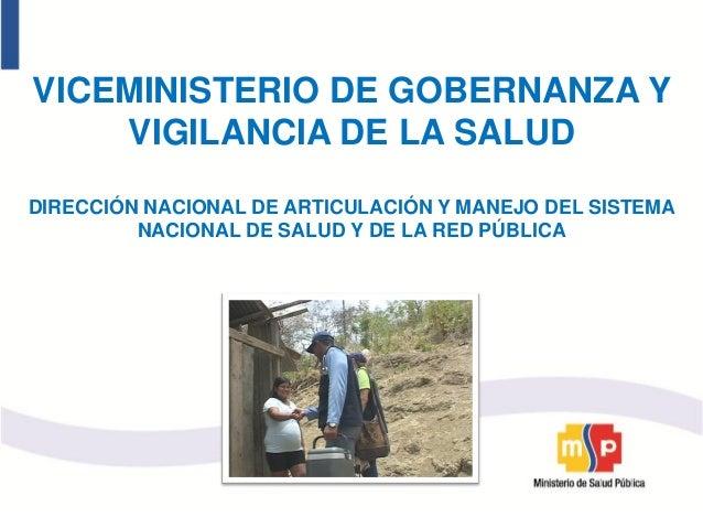 VICEMINISTERIO DE GOBERNANZA Y    VIGILANCIA DE LA SALUDDIRECCIÓN NACIONAL DE ARTICULACIÓN Y MANEJO DEL SISTEMA         NA...