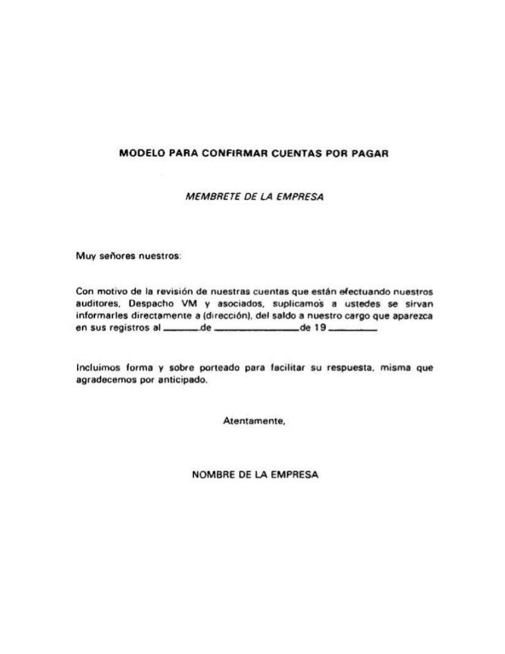Modelo de carta para confirmar cuentas por pagar