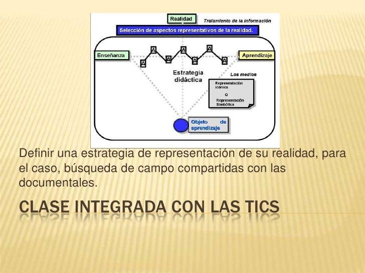 Clase integrada con las tics<br />Definir una estrategia de representación de su realidad, para el caso, búsqueda de campo...