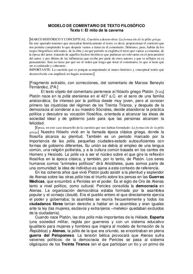 MODELO DE COMENTARIO DE TEXTO FILOSÓFICO Texto I: El mito de la caverna [MARCO HISTÓRICO Y CONCEPTUAL. Cuestión a desenvol...