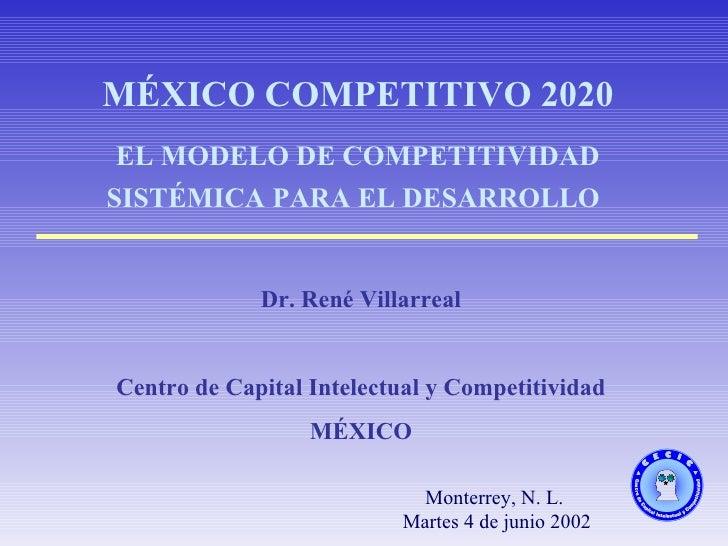 Monterrey, N. L. Martes 4 de junio 2002 MÉXICO COMPETITIVO 2020 EL MODELO DE COMPETITIVIDAD SISTÉMICA PARA EL DESARROLLO  ...