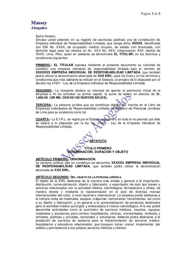 MODELO DE CONSTITUCIÓN DE EMPRESA - E.I.R.L.  ( EMPRESA INDIVIDUAL DE RESPONSABILIDAD LIMITADA)