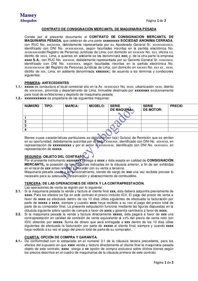 Modelo De Contrato De Consignaci N Mercantil De Maquinaria