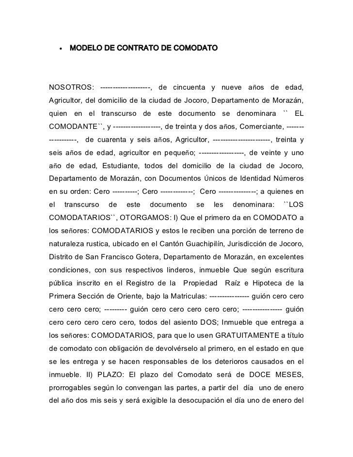 Modelo de contrato de comodato 1 for Formato de contrato de trabajo