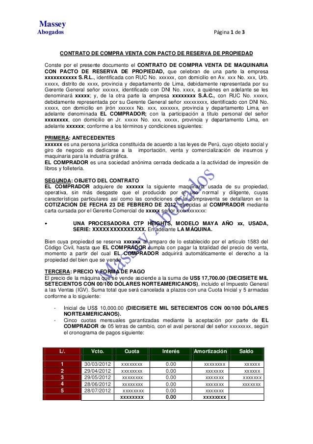 Modelo de contrato de compra venta con pacto de reserva de for Contrato documento
