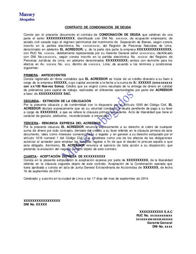 Modelo de contrato de condonaci n de deuda for Modelo acuerdo extrajudicial clausula suelo