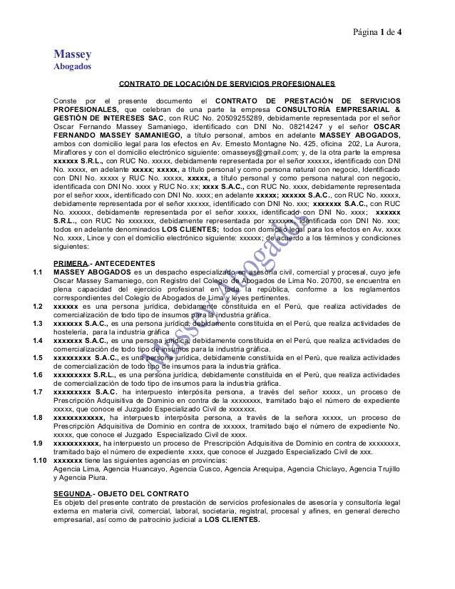 MODELO DE CONTRATO DE LOCACIÓN DE SERVICIOS PROFESIONALES