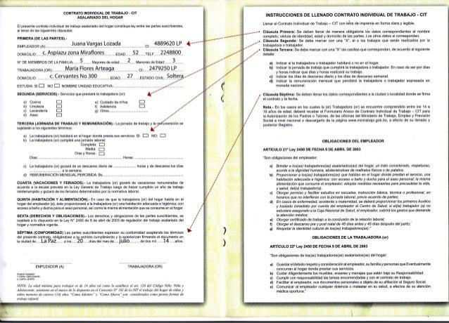 Modelo de contrato de trabajo asalariado del hogar for Modelo contrato empleada de hogar indefinido