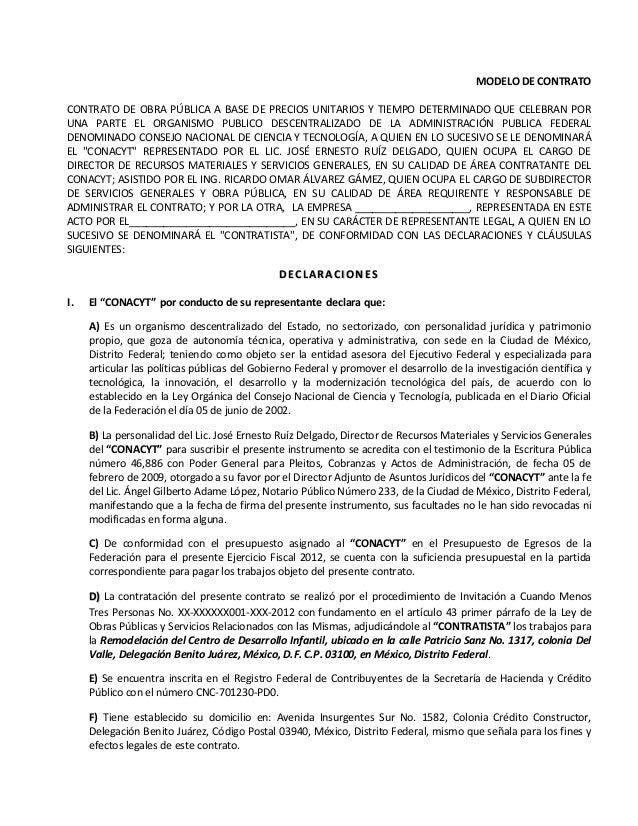 formato contrato obra: