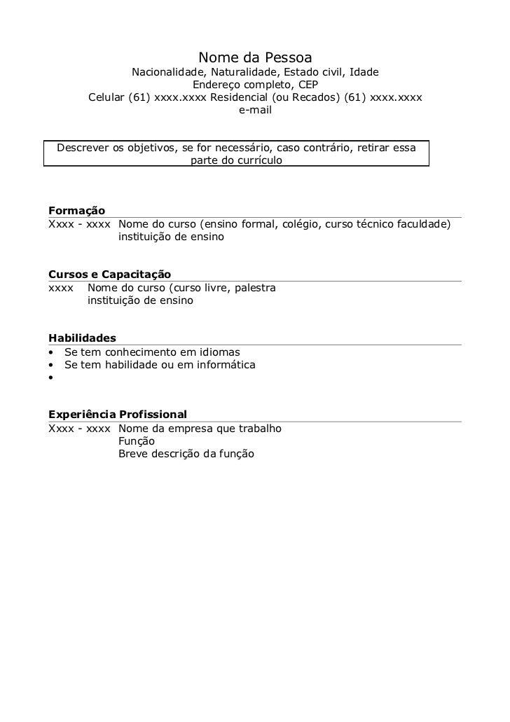 Modelo de currículo em branco