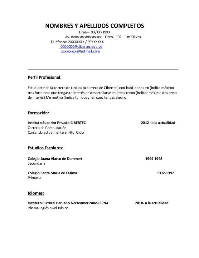 Modelo De Curriculum Vitae Lima - Modelo De Curriculum Vitae
