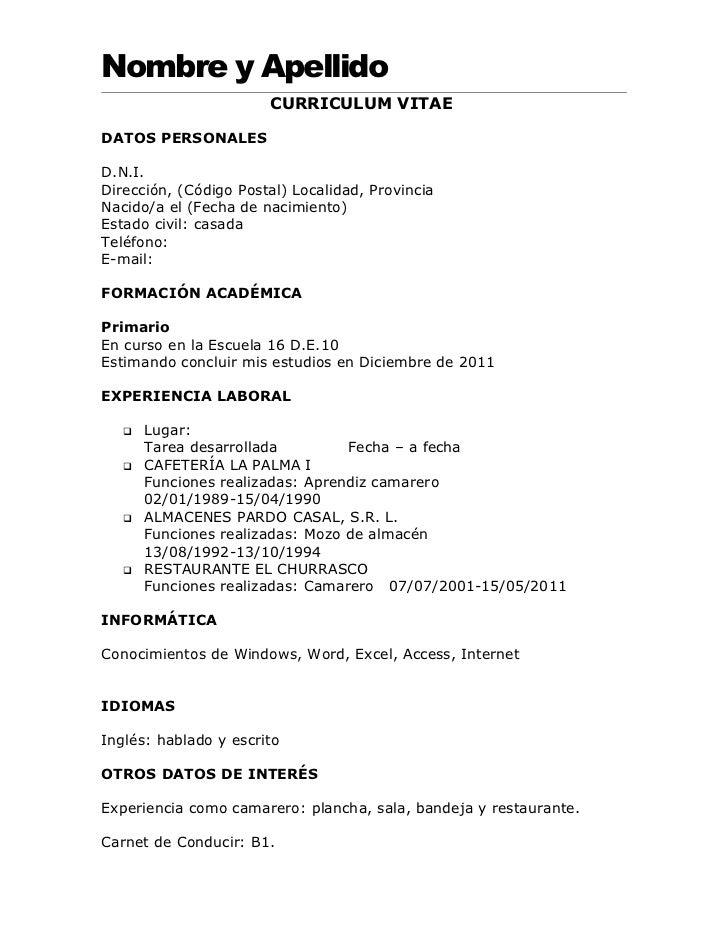 curriculum vitae y europeo para completar y llenar modelos