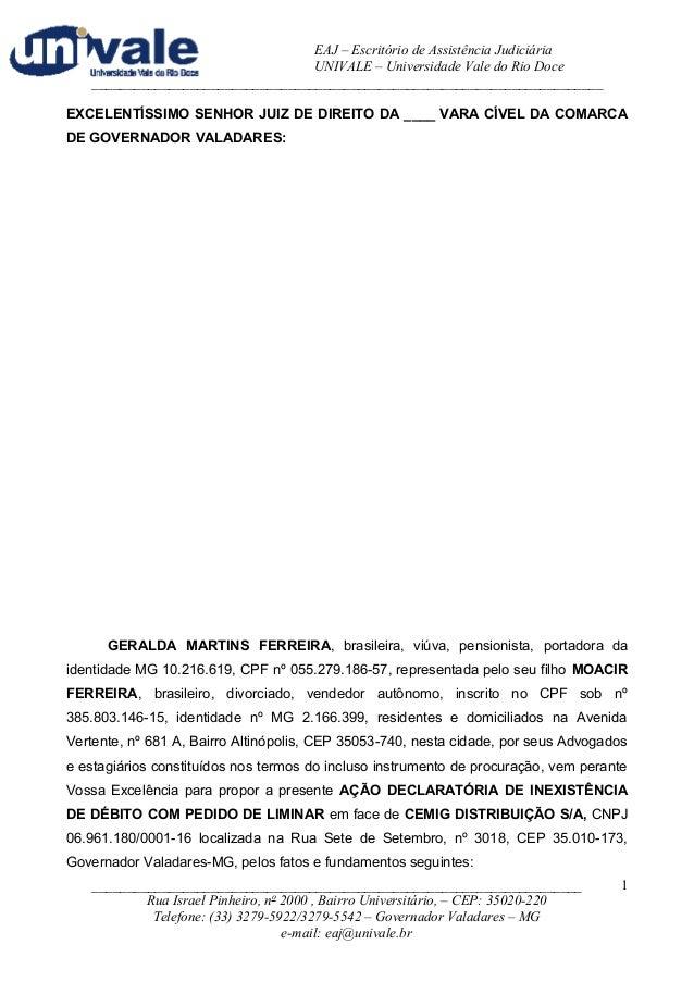 EAJ – Escritório de Assistência Judiciária  UNIVALE – Universidade Vale do Rio Doce  _____________________________________...