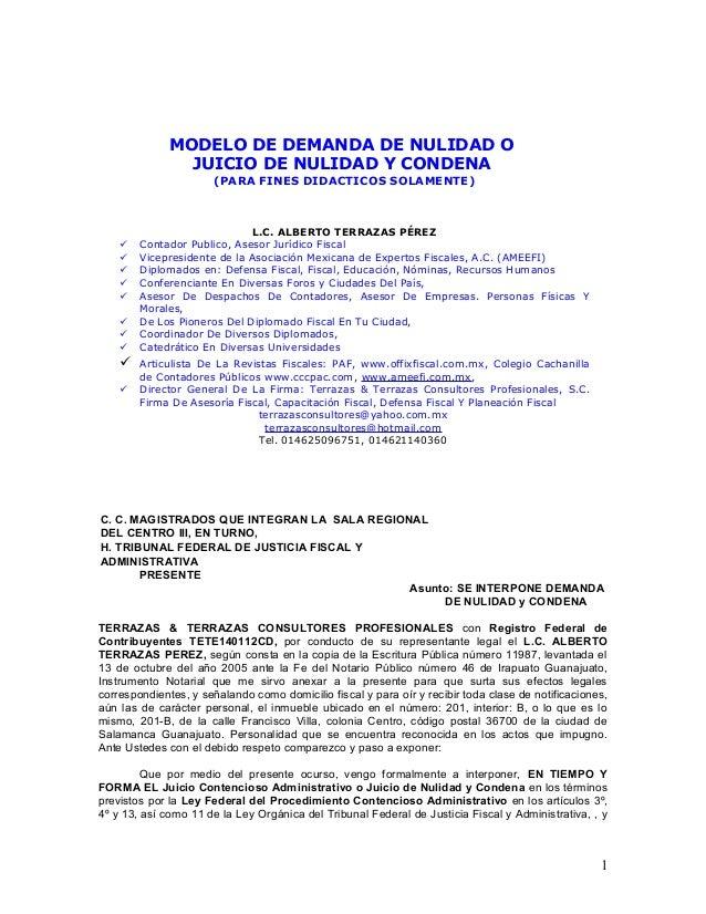 Modelo de demanda de nulidad y condena for Consulta demanda de empleo