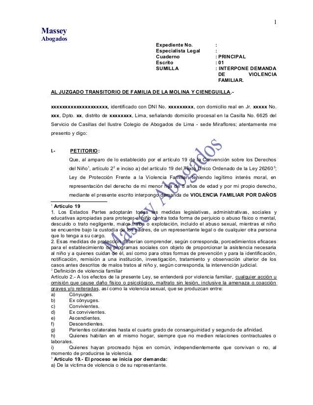 MasseyAbogadosExpediente No. :Especialista Legal :Cuaderno : PRINCIPALEscrito : 01SUMILLA : INTERPONE DEMANDADE VIOLENCIAF...