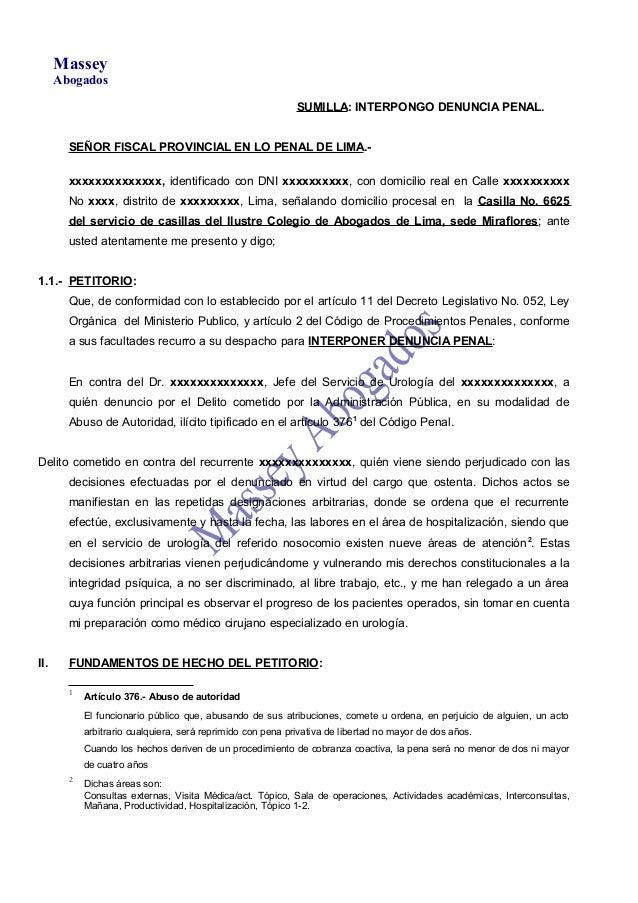 MasseyAbogadosSUMILLA: INTERPONGO DENUNCIA PENAL.SEÑOR FISCAL PROVINCIAL EN LO PENAL DE LIMA.-xxxxxxxxxxxxxx, identificado...