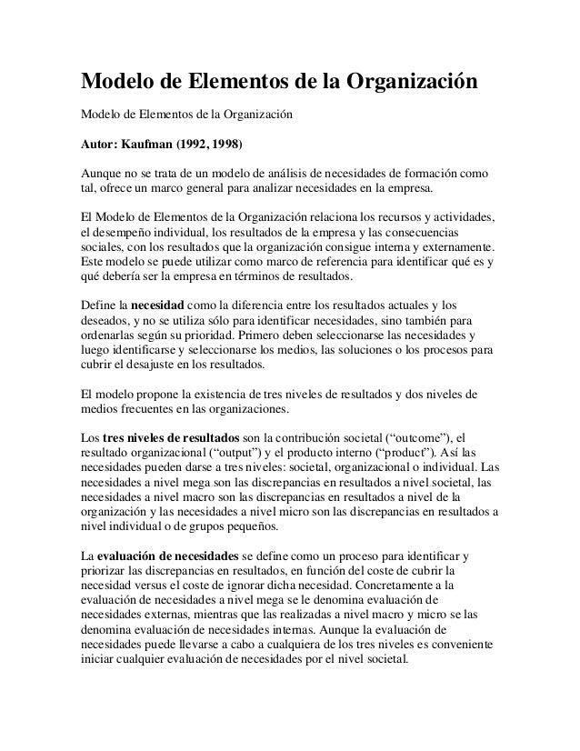 Modelo de Elementos de la Organización Modelo de Elementos de la Organización Autor: Kaufman (1992, 1998) Aunque no se tra...