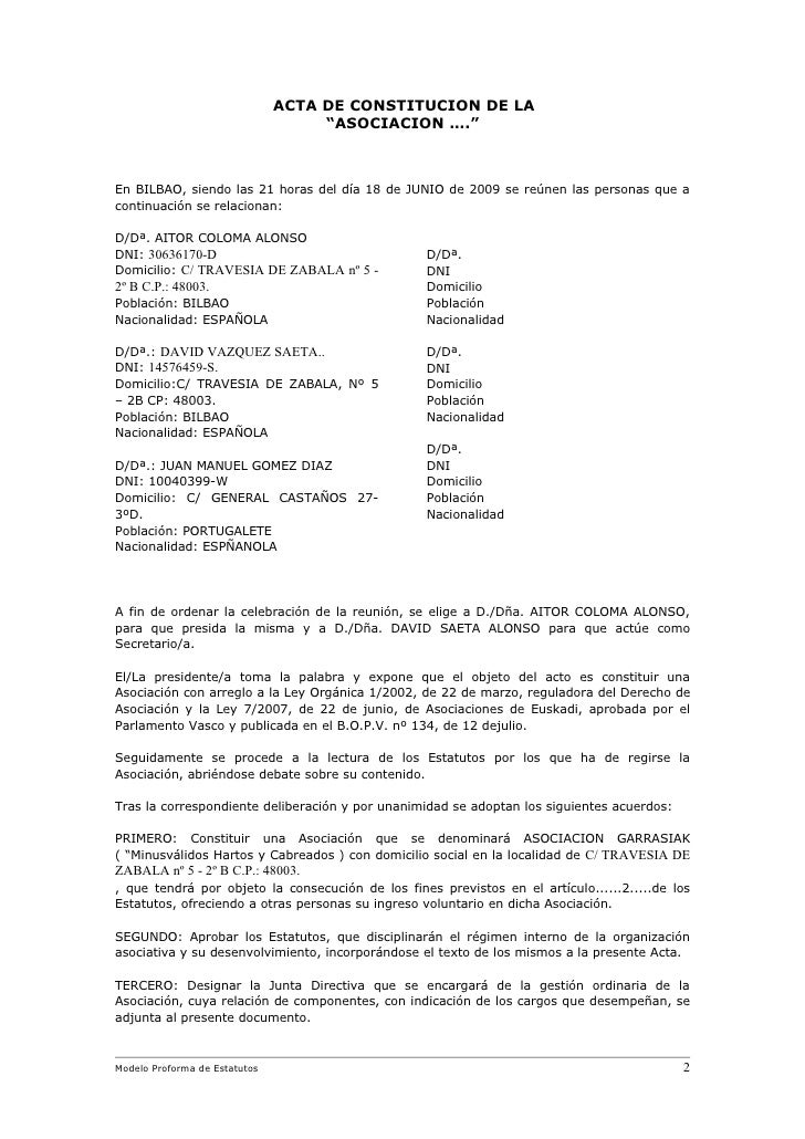 Modelo de estatutos rellenable castellano f0308 for Oficina dni donostia