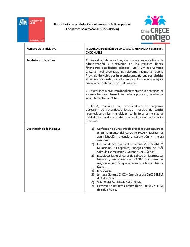 Formulario de postulación de buenas prácticas para el Encuentro Macro Zonal Sur (Valdivia)  Nombre de la iniciativa  MODEL...