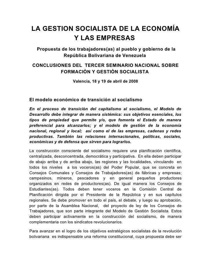 Modelo de Gestion Socialista. Conclusiones III Seminario Nacional