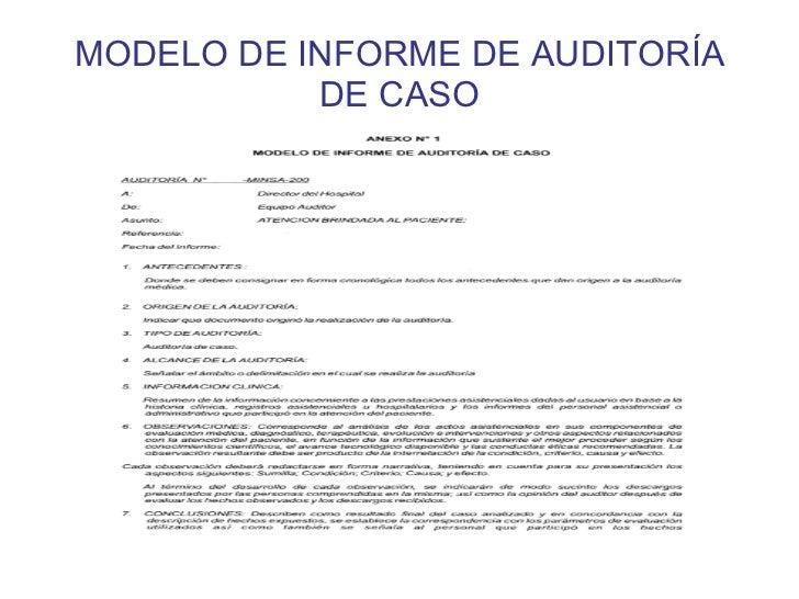 Modelo De Informe De Auditoria De Caso