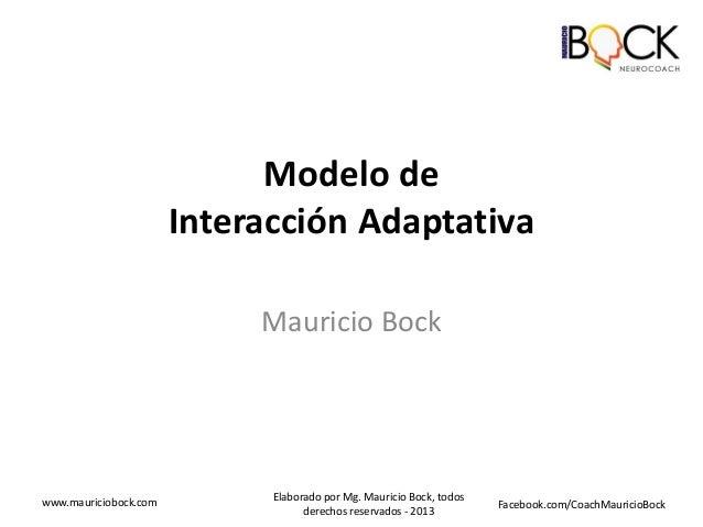 Modelo de Interacción Adaptativa Mauricio Bock  www.mauriciobock.com  Elaborado por Mg. Mauricio Bock, todos derechos rese...