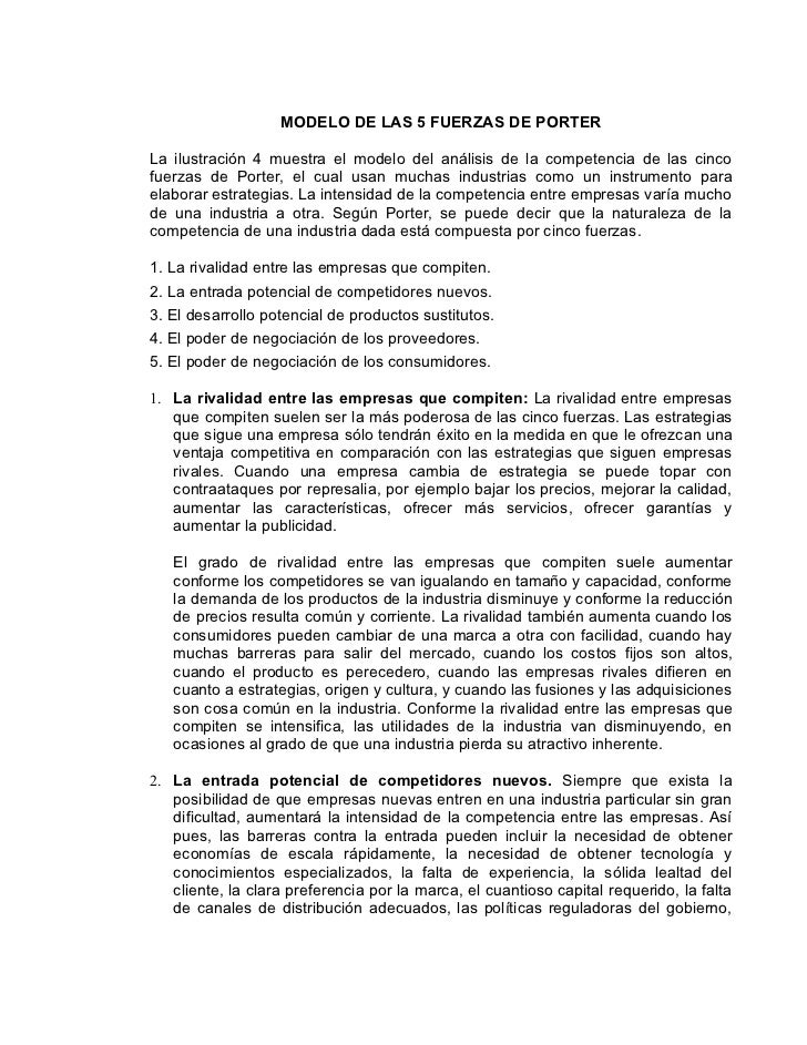 MODELO DE LAS 5 FUERZAS DE PORTERLa ilustración 4 muestra el modelo del análisis de la competencia de las cincofuerzas de ...