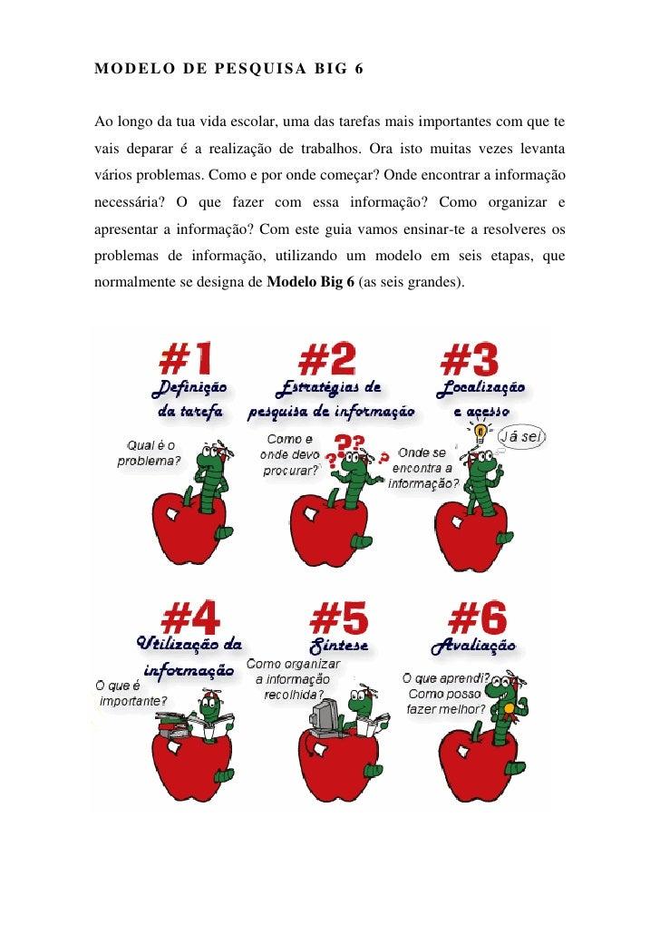 MODELO DE PESQUISA BIG 6da informação   Ao longo da tua vida escolar, uma das tarefas mais importantes com que te vais dep...