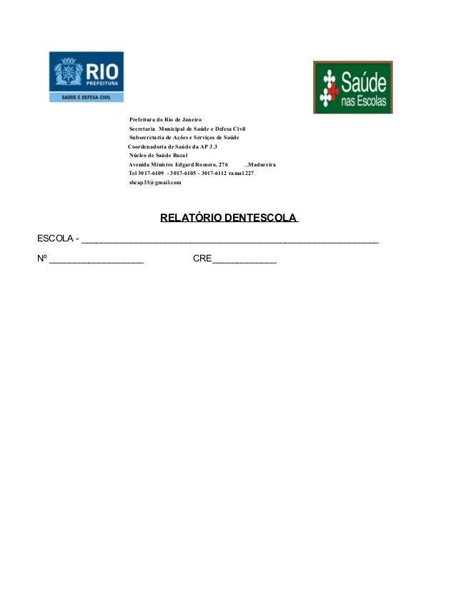 Modelo de relatorio tra   saúde bucal por escola