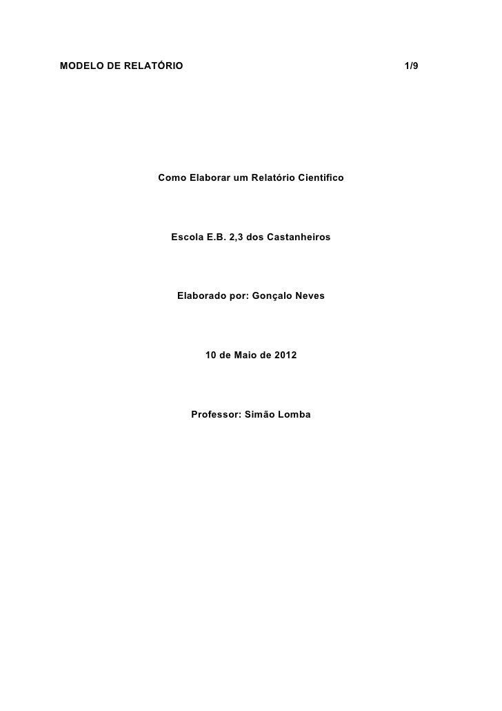 MODELO DE RELATÓRIO                                    1/9               Como Elaborar um Relatório Cientifico            ...