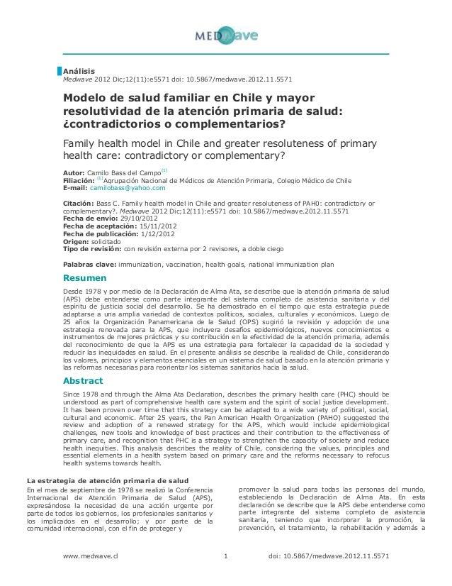 Modelo de salud familiar en chile y mayor resolutividad de la atención primaria de salud 2012