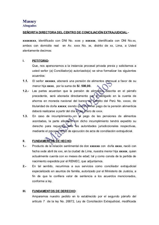 MODELO DE  SOLICITUD DE CONCILIACIÓN EXTRAJUDICIAL DE ALIMENTOS