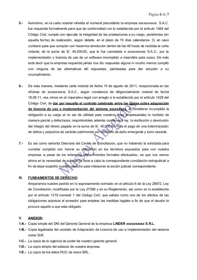 Modelo de solicitud de conciliaci n extrajudicial de for Modelo acuerdo extrajudicial clausula suelo