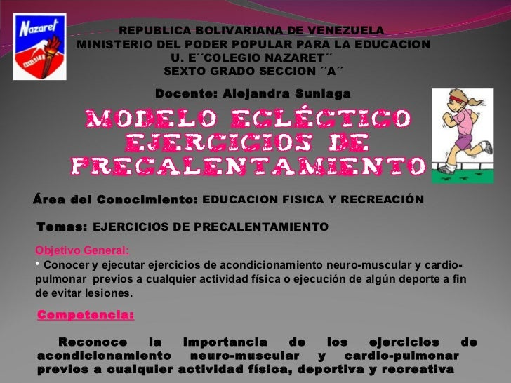 REPUBLICA BOLIVARIANA DE VENEZUELA  MINISTERIO DEL PODER POPULAR PARA LA EDUCACION U. E´´COLEGIO NAZARET´´  SEXTO GRADO SE...
