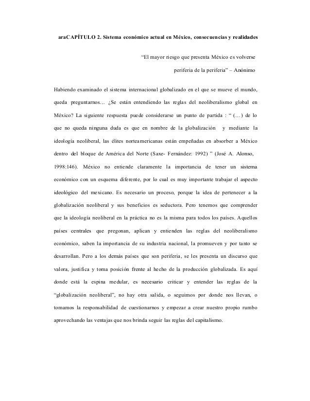 """araCAPÍTULO 2. Sistema económico actual en México, consecuencias y realidades                                      """"El may..."""
