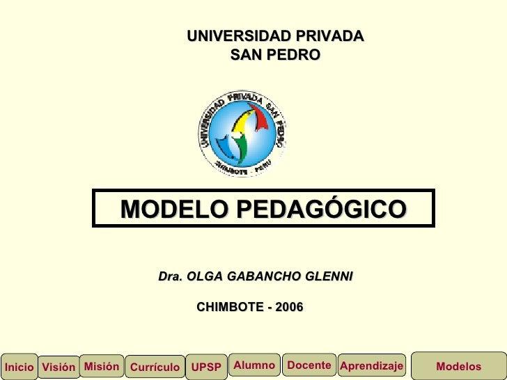 UNIVERSIDAD PRIVADA SAN PEDRO Dra. OLGA GABANCHO GLENNI CHIMBOTE - 2006 MODELO PEDAGÓGICO