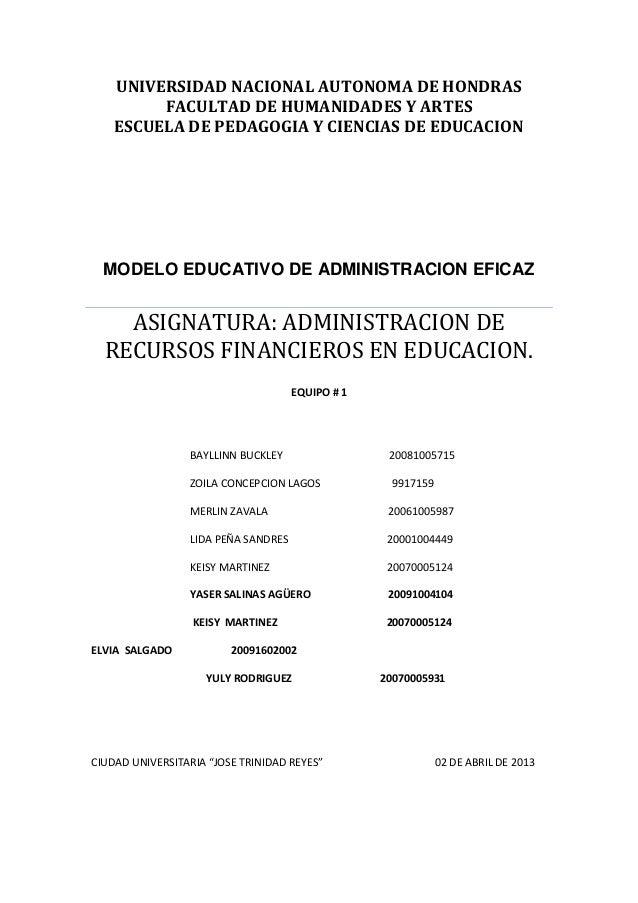 UNIVERSIDAD NACIONAL AUTONOMA DE HONDRAS         FACULTAD DE HUMANIDADES Y ARTES    ESCUELA DE PEDAGOGIA Y CIENCIAS DE EDU...