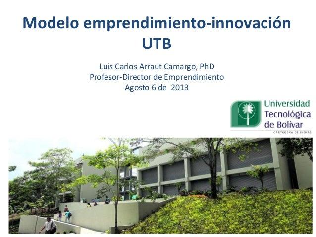 Modelo emprendimiento-innovación UTB Luis Carlos Arraut Camargo, PhD Profesor-Director de Emprendimiento Agosto 6 de 2013