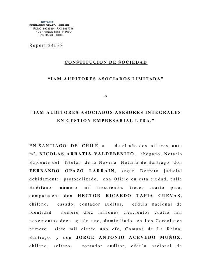 NOTARIAFERNANDO OPAZO LARRAIN  FONO: 6973989 – FAX 6967746   HUERFANOS 1313- 4° PISO     SANTIAGO – CHILERepert:34589     ...