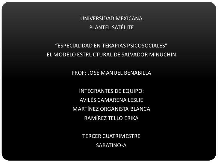 """UNIVERSIDAD MEXICANA<br />PLANTEL SATÉLITE<br />""""ESPECIALIDAD EN TERAPIAS PSICOSOCIALES""""<br />EL MODELO ESTRUCTURAL DE SAL..."""