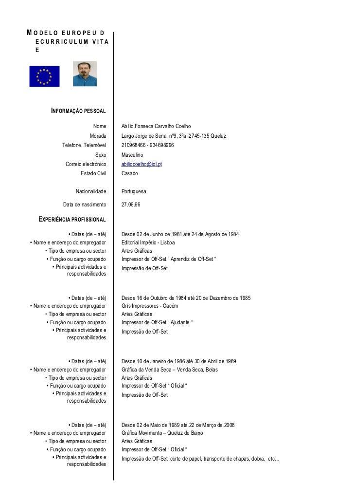 curriculum vitae  curriculum vitae modelo europeu
