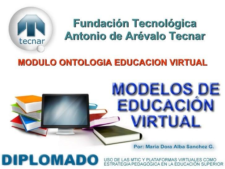 Fundación Tecnológica Antonio de Arévalo Tecnar MODULO ONTOLOGIA EDUCACION VIRTUAL