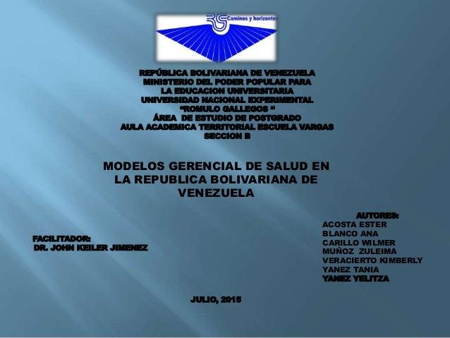 REPÚBLICA BOLIVARIANA DE VENEZUELA MINISTERIO DEL PODER POPULAR PARA LA EDUCACION UNIVERSITARIA UNIVERSIDAD NACIONAL EXPER...