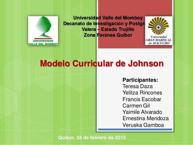 Universidad Valle del Momboy Decanato de Investigación y Postgrado Valera – Estado Trujillo Zona Foránea Quíbor Modelo Cur...