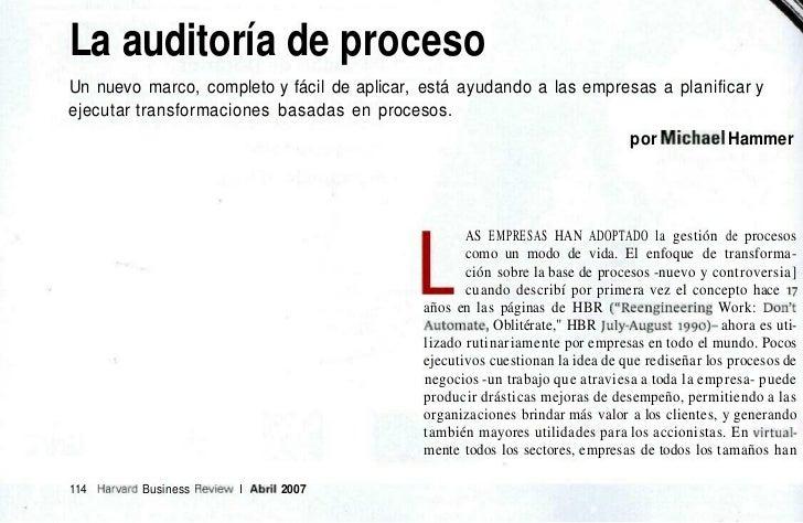 La auditoría de procesoUn nuevo marco, completo y fácil de aplicar, está ayudando a las empresas a planificar yejecutar tr...